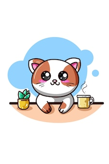 A happy cat with coffee and ornamental plant kawaii cartoon