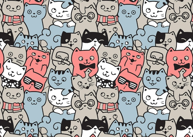 Happy cats doodle pattern background