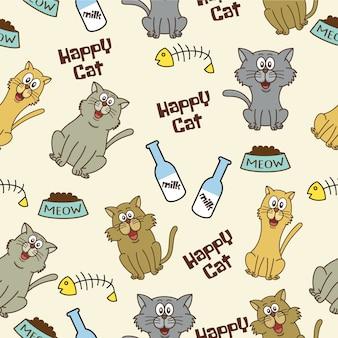 Счастливый фон с рисунками кошек Бесплатные векторы