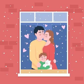 ホームウィンドウのカラーイラストで幸せな白人家族。