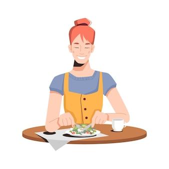 Счастливая кавказская девушка ест салат изолированного плоско-мультяшного человека, обедающего в ресторане или дома.