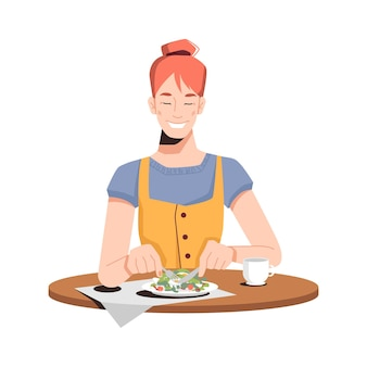 Happy caucasian girl eating salad isolated flat-cartoon person dining at restaurant or at home.