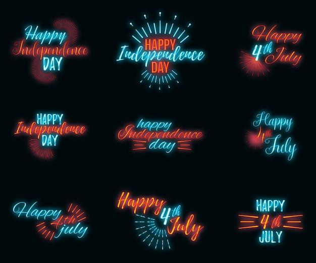 7월 4일 해피 축하 인사말 카드, 개념 광선 네온 스타일 글꼴 텍스트 독립 기념일은 검은색 벽 배경에 문구 벡터 삽화를 인용합니다.