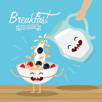 Happy cereal with fruits and milk jar