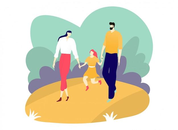 幸せな文字の父の母と娘が一緒に屋外都市公園、親切な人々レジャー白、イラストの都市の庭を歩きます。