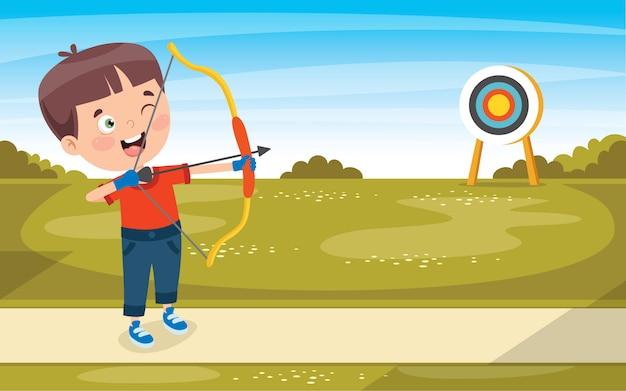 幸せなキャラクターがアーチェリーゲームをプレイ