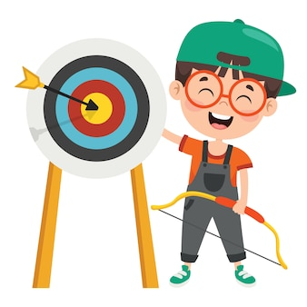 Happy character playing archery game