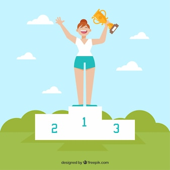 Happy character winning a prize with flat design