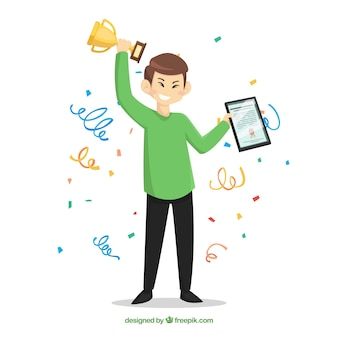 Happy character winning prize with flat design Premium Vector