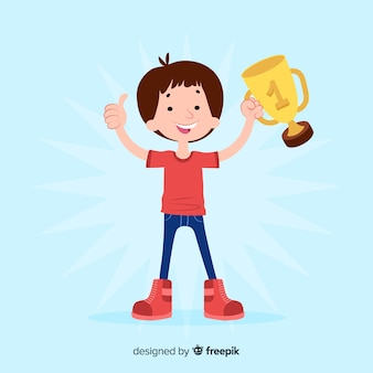 Happy character winning prize with flat design