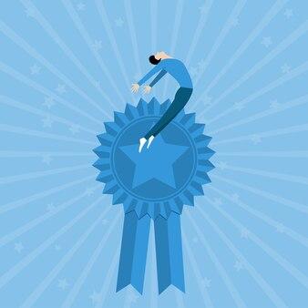 リボンスターでハッピーキャラクター賞を受賞。ビジネスコンセプト。イラストベクトルフラット