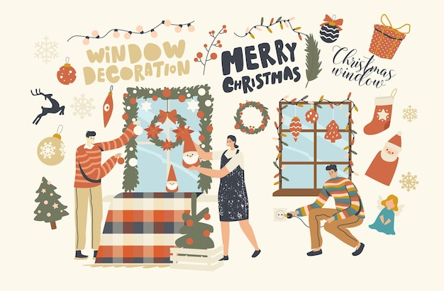 Happy characters decorate home for christmas. family or friends company hanging baubles, garland and fir tree wreath on window. people prepare to celebrate new year or xmas. linear vector illustration