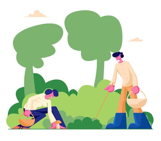 행복한 캐릭터가 막대기와 바구니로 버섯을 집어 들고 숲에서 야외 시간 보내기