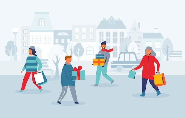 Счастливые персонажи за покупками на зимних праздниках. люди с рождественскими подарками на городской улице. женщина и мужчина с хозяйственными сумками на новый год.