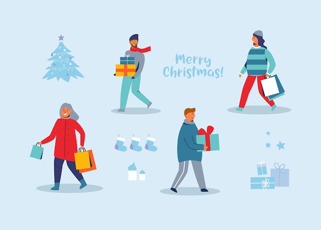 Счастливые персонажи за покупками на зимних праздниках. люди с рождественскими подарками. женщина и мужчина с хозяйственными сумками на новый год.