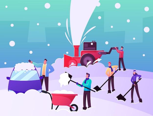 눈이 내린 후 도로와 자동차를 청소하기 위해 삽과 제설기를 사용하여 거리에서 눈을 치우고 제거하는 행복한 캐릭터. 겨울 시간 활동, 팀워크. 만화 사람들 벡터 일러스트 레이 션