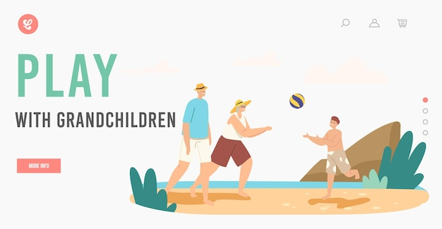 Happy characters summer recreation at ocean shore landing page template. family leisure, vacation. grandparents and grandson playing beach volleyball on sea shore. cartoon people vector illustration