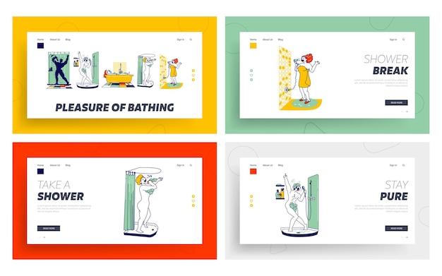 幸せなキャラクターがバスルームでシャワーを浴びて、ランディングページのテンプレートセットを歌います。