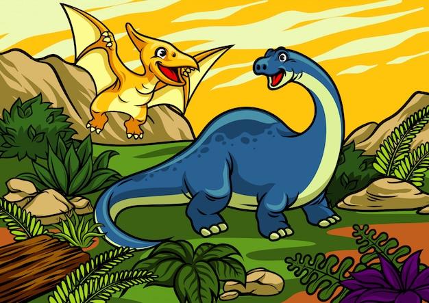 Happy cheerful cartoon of brontosaurus and pterodactyl