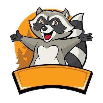 Happy cheerful racoon cartoon character