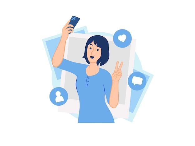 Счастливая веселая женщина, держащая смартфон, делающая селфи фото концепции иллюстрации