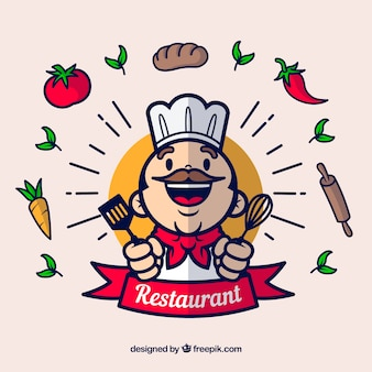 Happy chef and ingredients with flat design