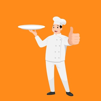 Happy chef cartoon portrait of young big guy cook wearing hat and chef uniform hold empty dish