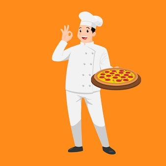 Happy chef cartoon portrait of young big guy cook wearing hat and chef uniform hold plate of delicious pizza