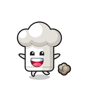 The happy chef hat cartoon with running pose , cute style design for t shirt, sticker, logo element