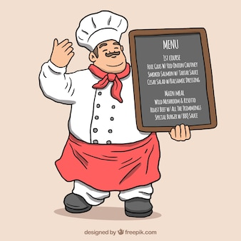 Happy chef holding a chalkboard