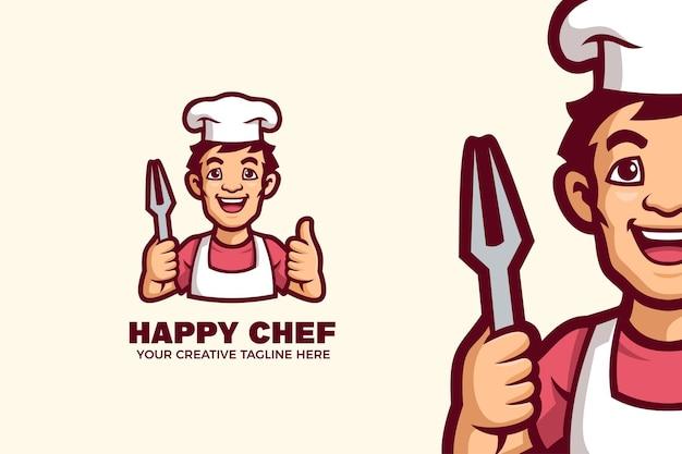 행복 한 요리사 마스코트 캐릭터 로고 템플릿