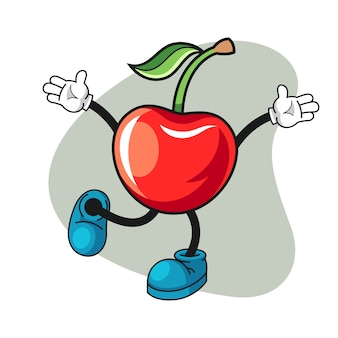 Happy cherry cartoon illustration