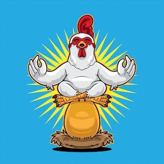 Happy chicken yoga above golden egg