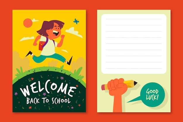 Happy child back to school card template