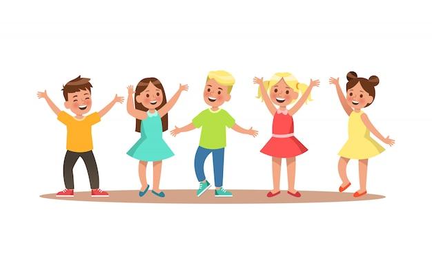 幸せな子キャラクター。子供の踊り。