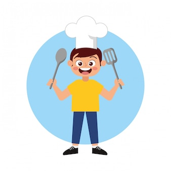 Happy child chef smiling cartoon