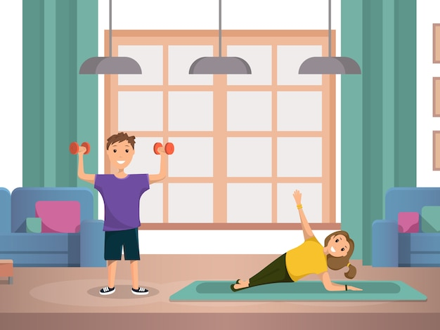 Happy child doing morning fitness exercises home