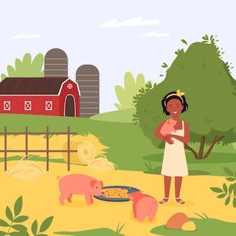 Счастливый ребенок домашняя свинья животное векторная иллюстрация мультфильм девочка ребенок персонаж обнимает милый поросенок
