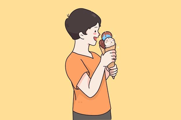 Счастливый ребенок ест сладости концепции