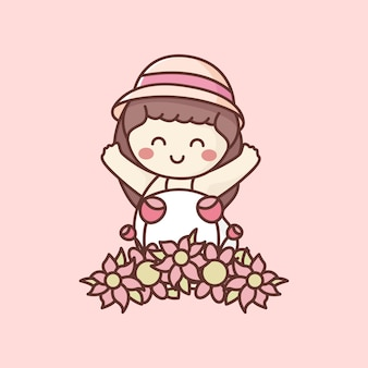 꽃밭에서 행복한 아이