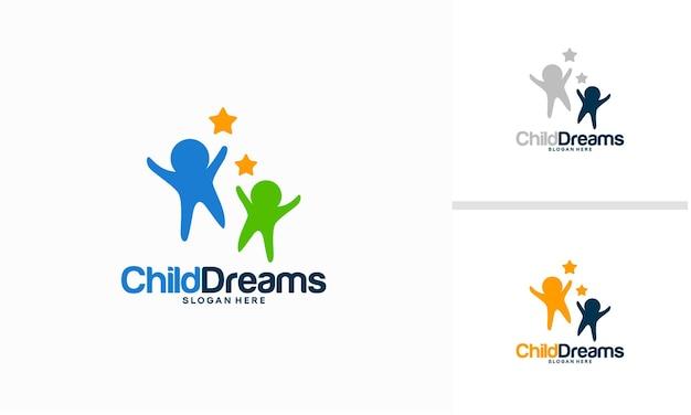 Happy child logo template designs, child reaching dream logo