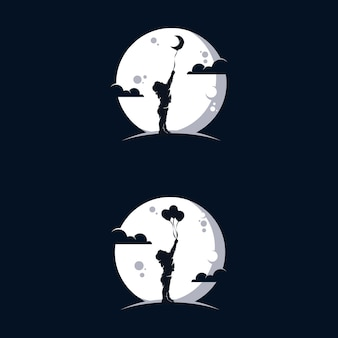 Happy child playing with balloons in the moon logo design
