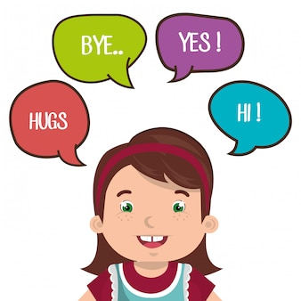 Happy child talking design