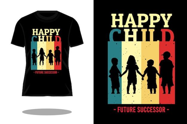 행복한 아이 빈티지 티셔츠 디자인