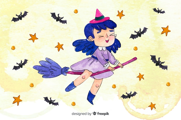 Happy child witch on broom background