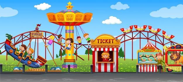 Happy childen at fun fair