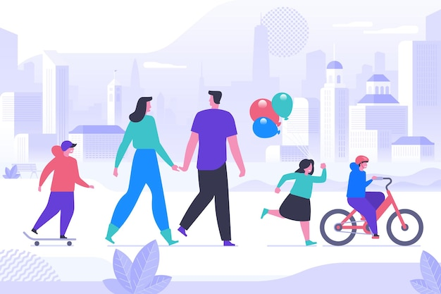 Happy childhood activity flat vector illustration. smiling parents and little children cartoon characters. young couple with kids on stroll in city park. family leisure, outdoor recreation