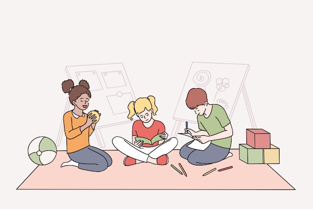 幸せな子供時代と混血の友情の概念