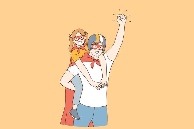幸せな子供時代と親子関係の父と娘の概念