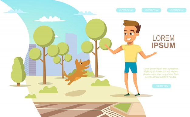 Infanzia felice in banner web di vettore piatto grande città